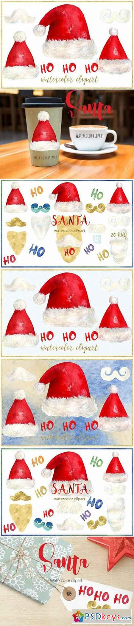 Santa. Christmas watercolor clipart 1001956