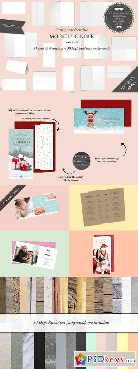 Greeting cards 4x8 - Mockup bundle 1082243