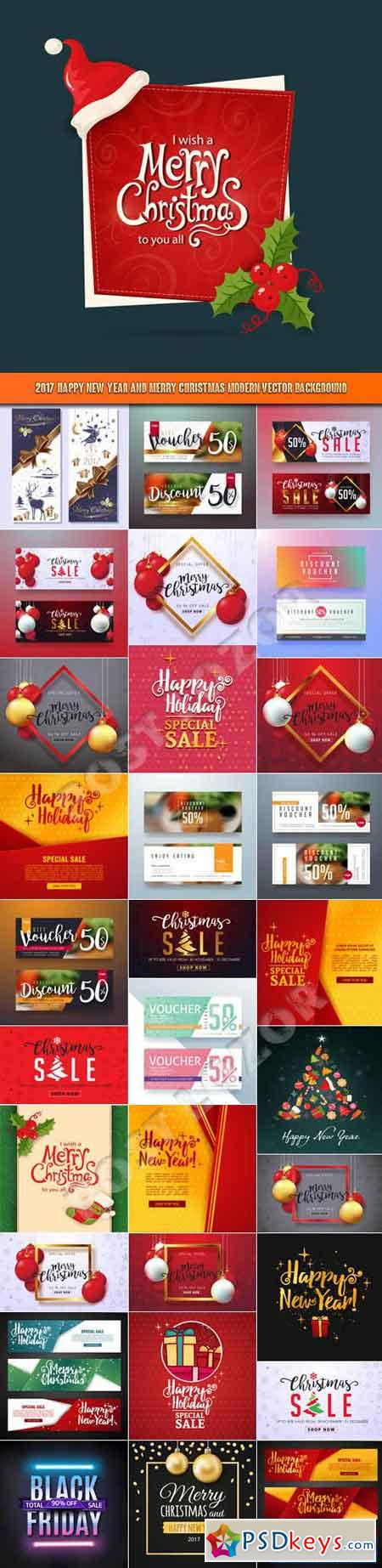 2017 Happy New Year and Merry Christmas modern vector background