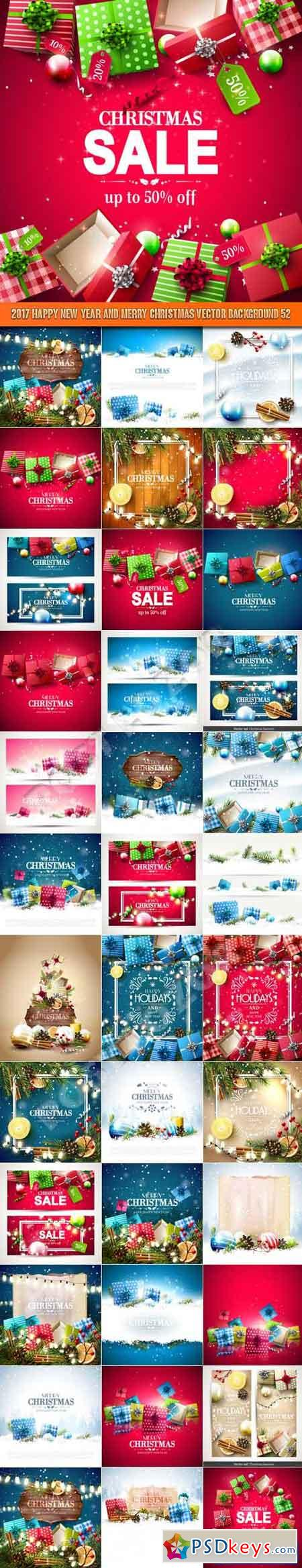 2017 Happy New Year and Merry Christmas vector background 52