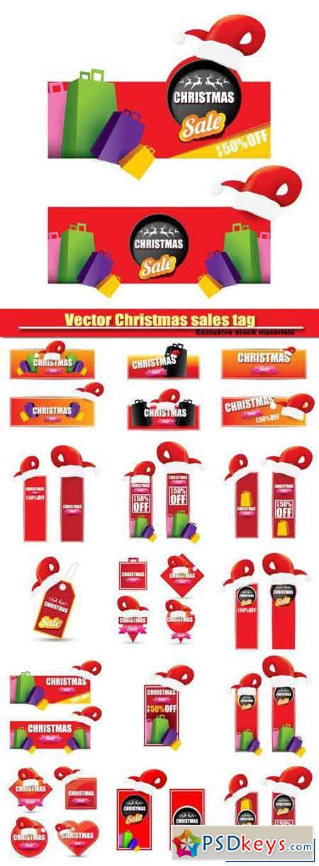 Christmas sales tag and label with red santa hat