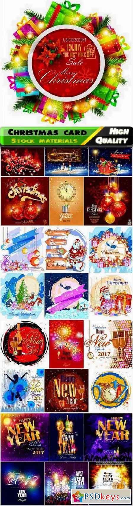 Merry Christmas holiday card with Santa Claus and Fir tree 25 Eps