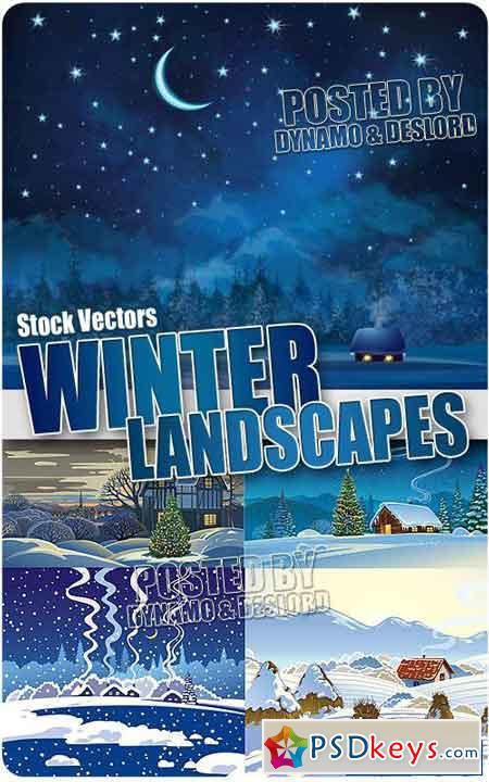 Winter Christmas landscapes - Stock Vectors