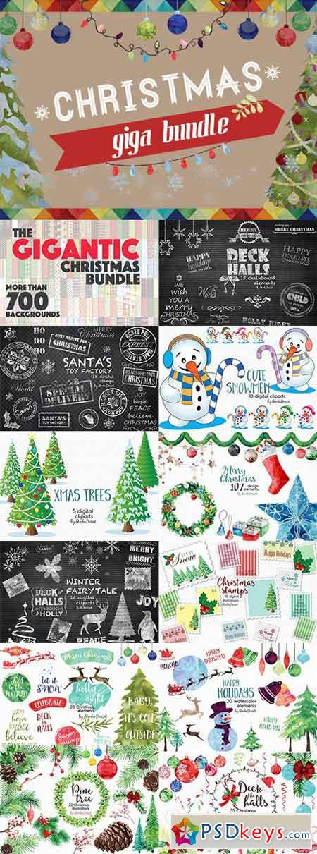 Christmas Giga Bundle with Festive Design Goodies