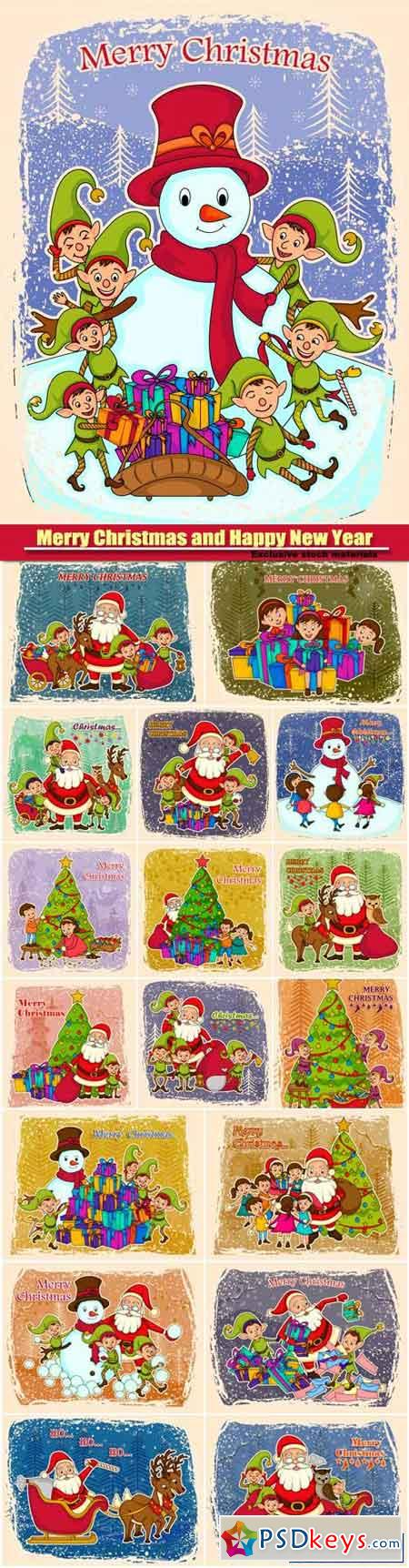Santa Claus vector and elf making snowman for Merry Christmas