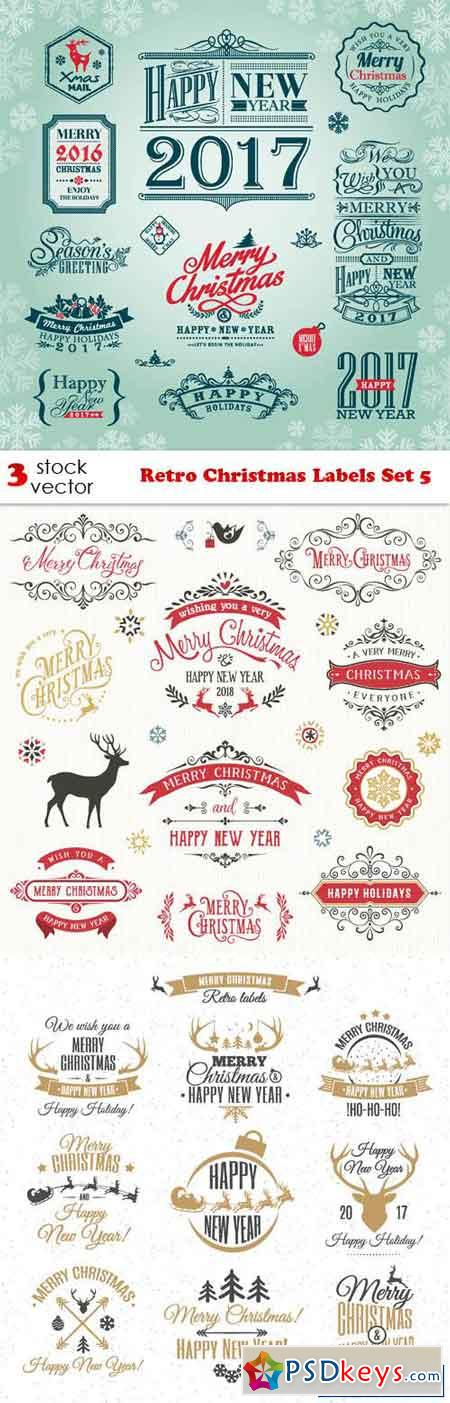 Retro Christmas Labels Set 5