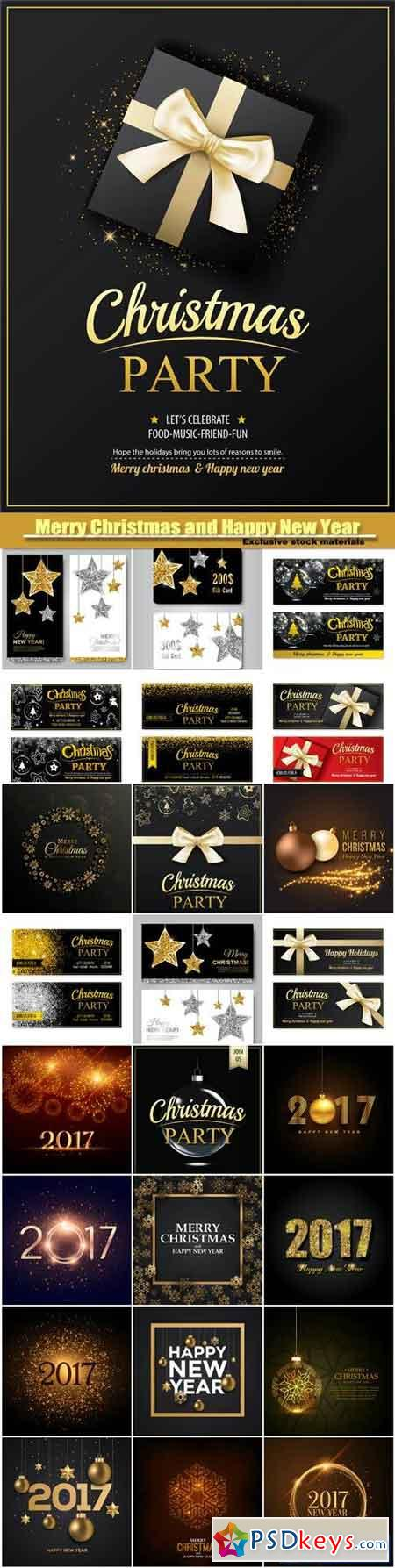 MC AND HPNY invitation party banner, card design template, gold glittering