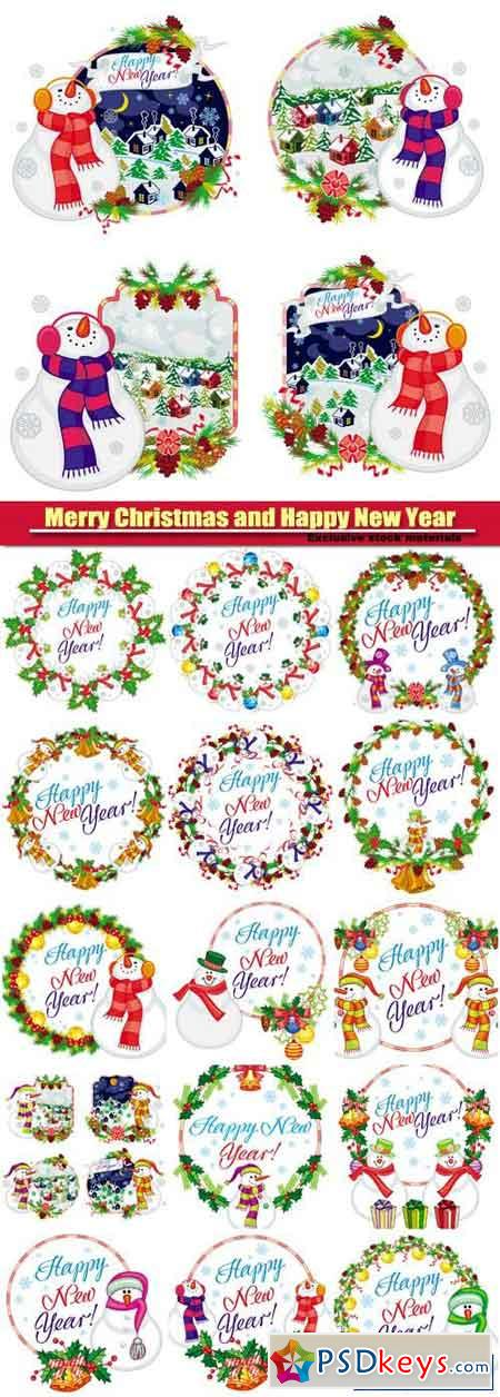 Set of holiday labels with happy snowman in funny hat and scarf