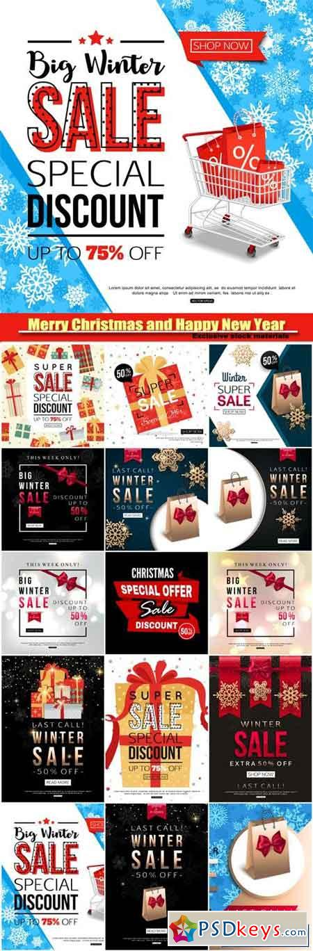 winter sale banner with shopping cart design background
