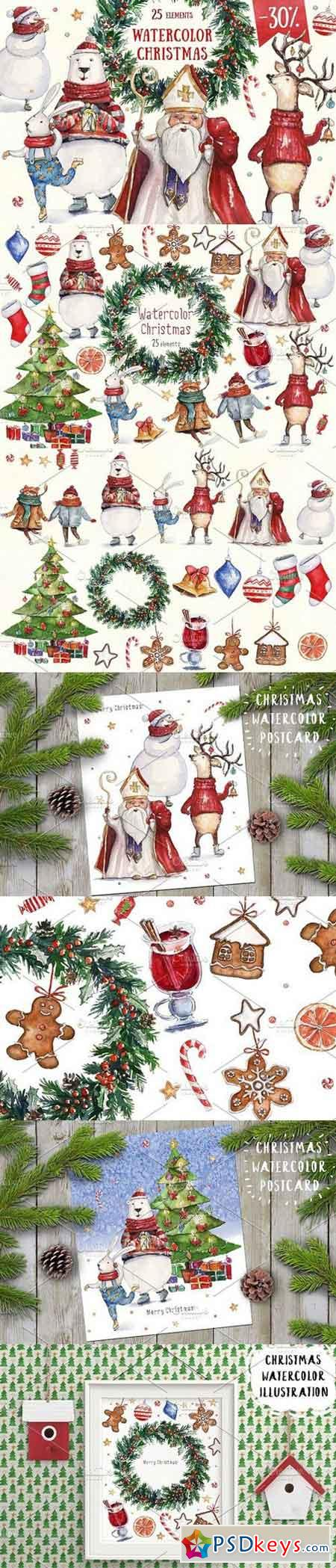 Watercolor Christmas collection 1110723