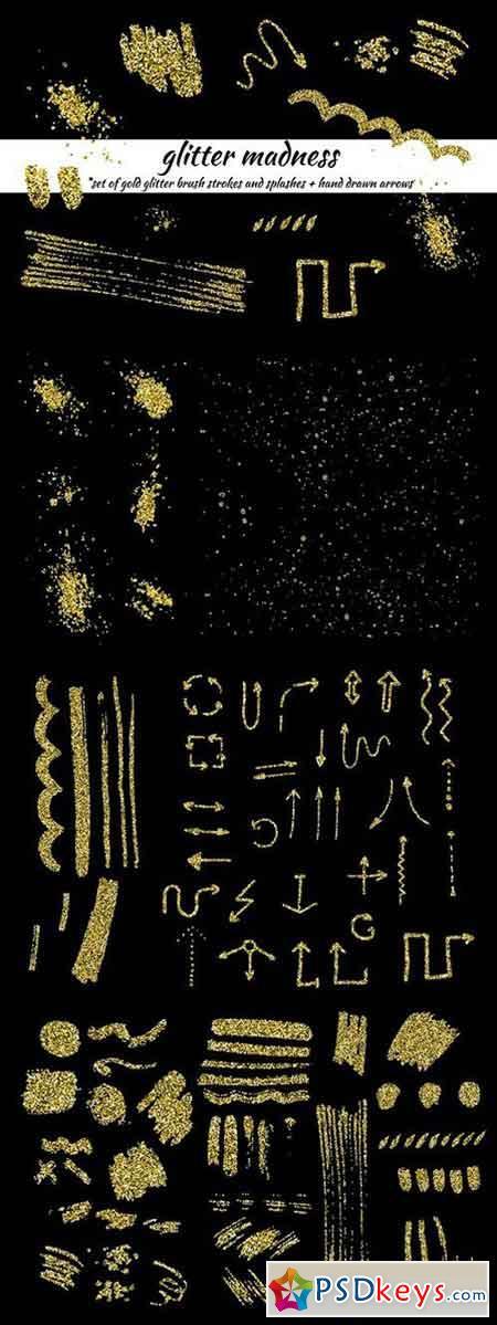 Glitter madness-set of gold elements 1110972