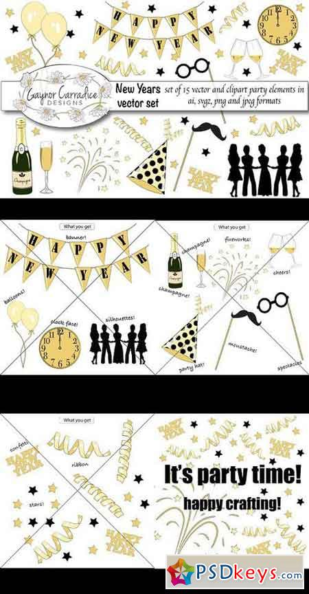 New years vector & clipart set 1111445