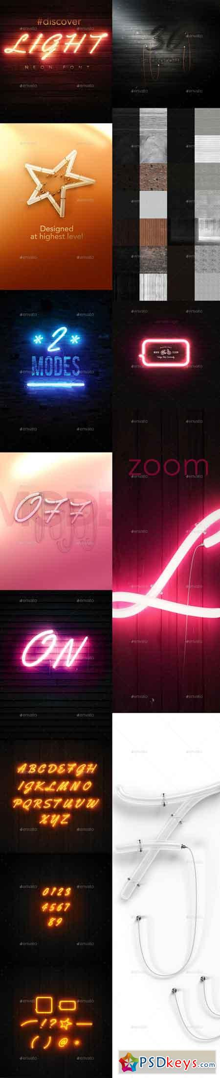PSD Neon Font Mock-up 19059065