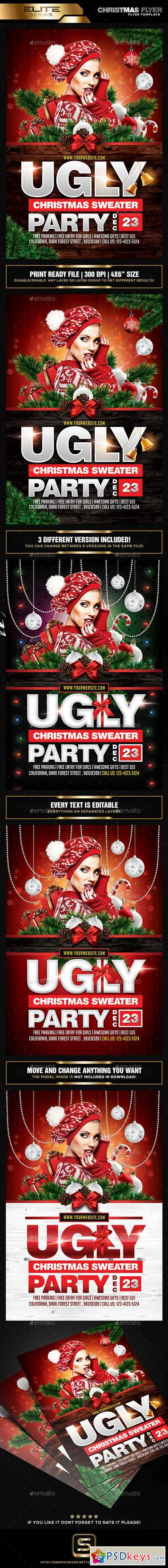 Ugly Christmas Sweater Party Flyer 18704621