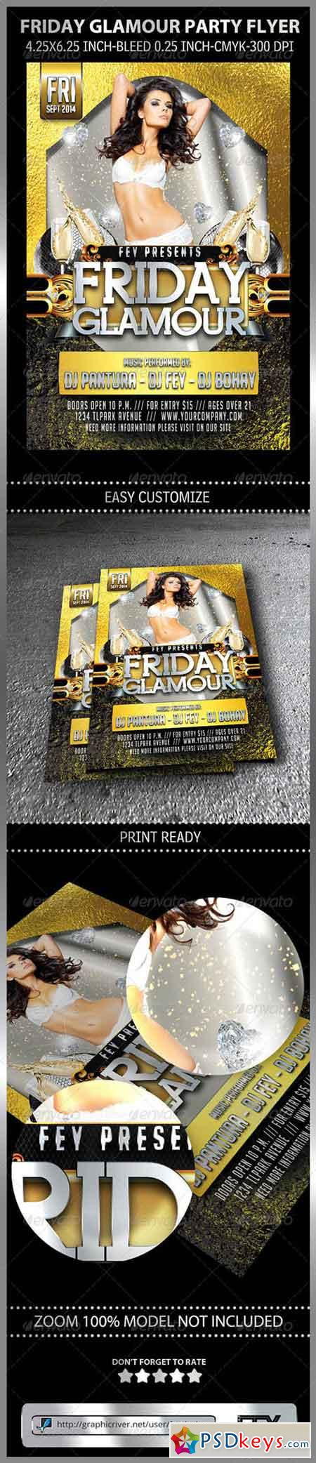 Friday Glamour Party Flyer 8619796