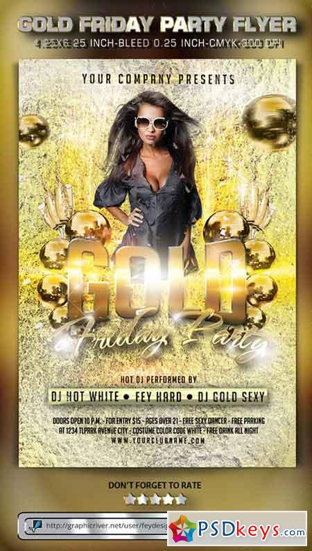 Gold Friday Party Flyer 9819352