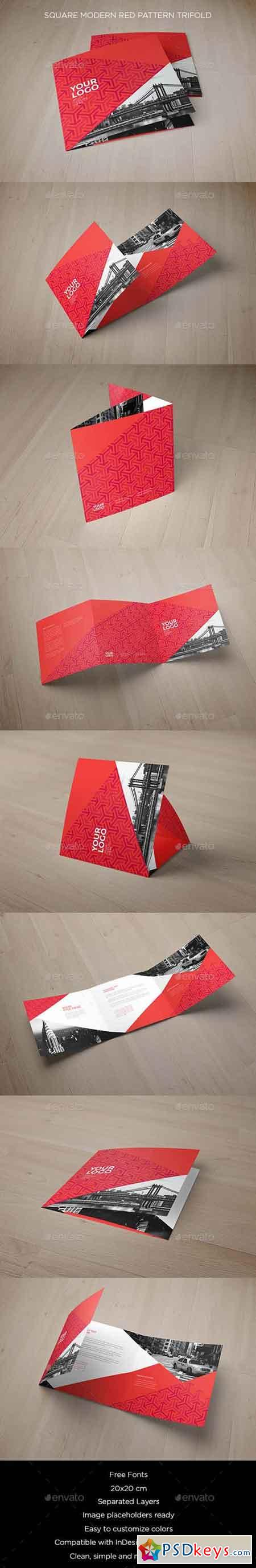 Square Modern Red Pattern Trifold 16171362