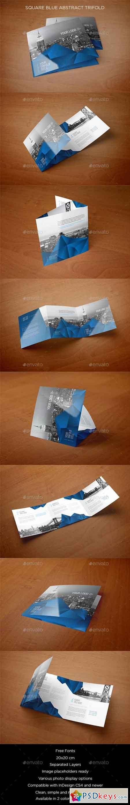 Square Blue Abstract Trifold 10505643