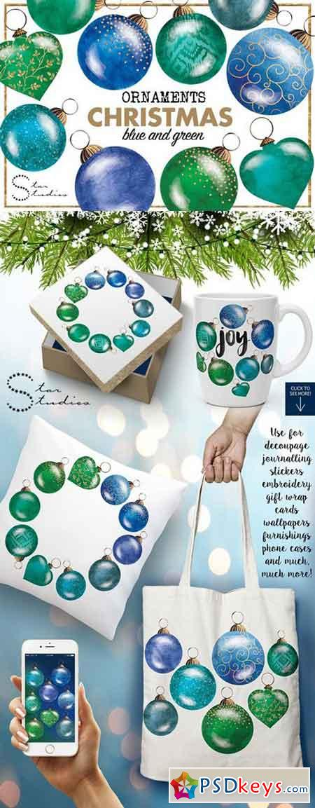 BLUE & GREEN Christmas Ornaments 1110707