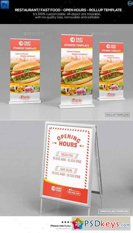 Restaurant Fast Food-Open Hours-Rollup Template 12369975