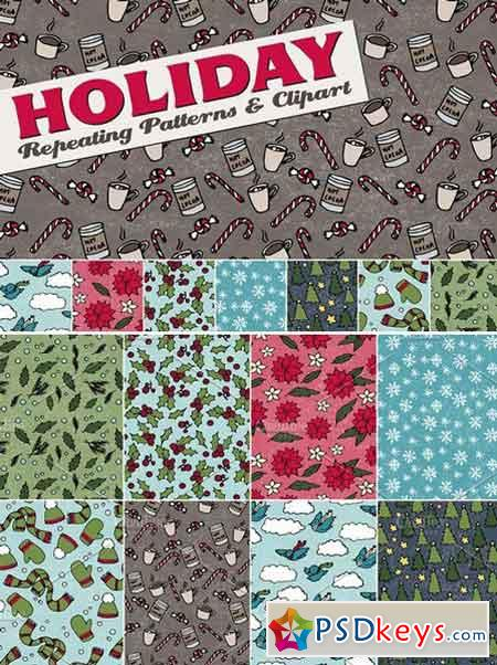 Holiday & Christmas Patterns Clipart 103225