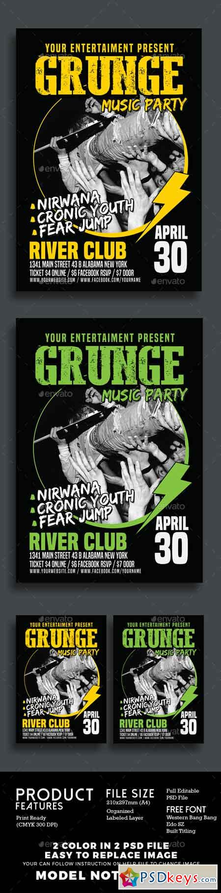 Grunge Music Party Poster Flyer 15796615