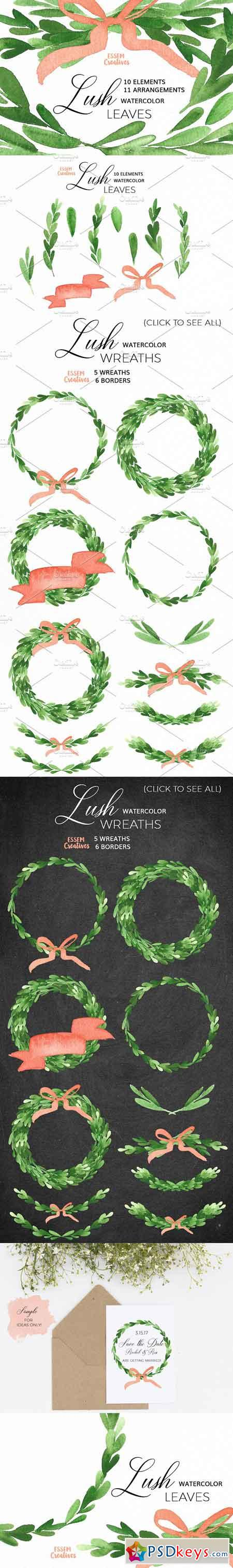 Watercolor Leaves & Wreaths - Olive 1121993