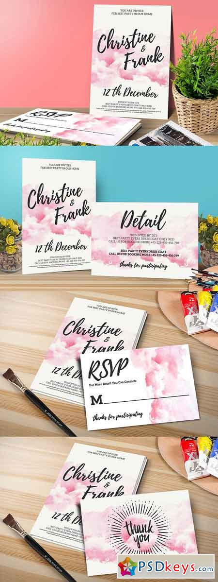 Watercolor Wedding Invitation Set 1122056
