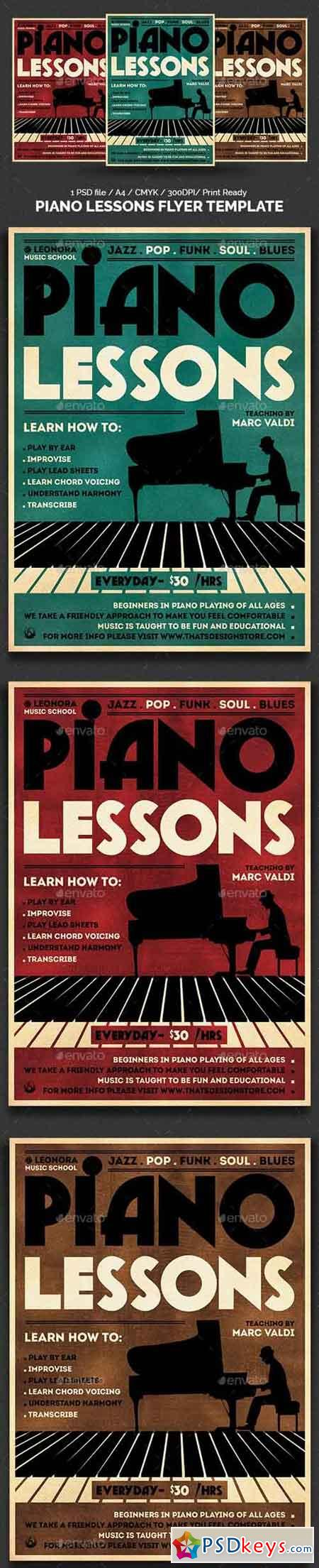 Piano Lessons Flyer Template 13922819