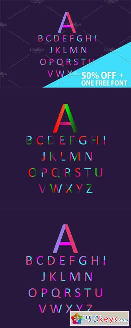 Neon font purple + one free 1117318