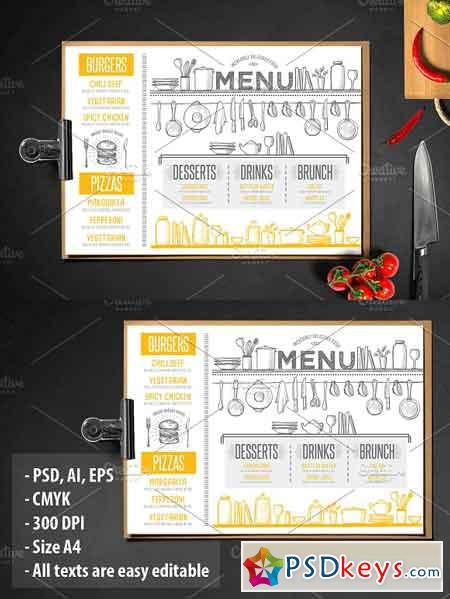 Food menu, restaurant flyer #42 1164684