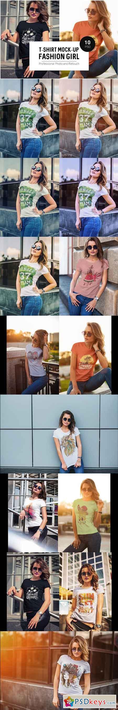 T-Shirt Mock-Up Fashion Girl 1048058 » Free Download Photoshop