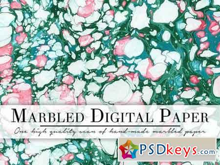 Green & White Marbled Paper 1157876
