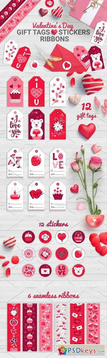 Valentine Gift Tags, Stickers, Tapes 1156491