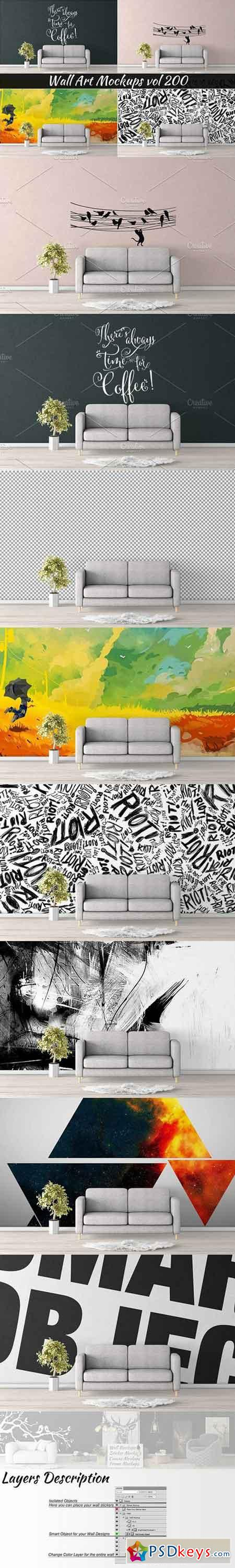 Wall Mockup - Sticker Mockup Vol 200 1123649