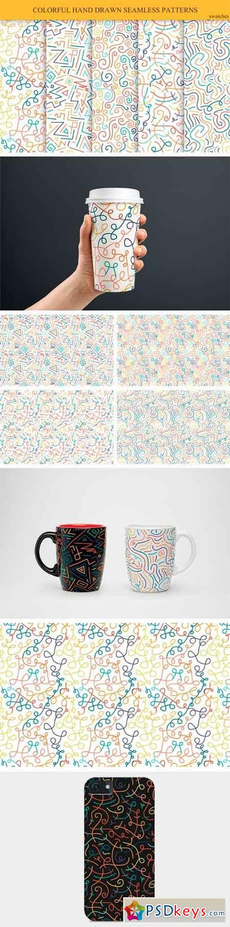 Hand Drawn Seamless Color Patterns  1165901