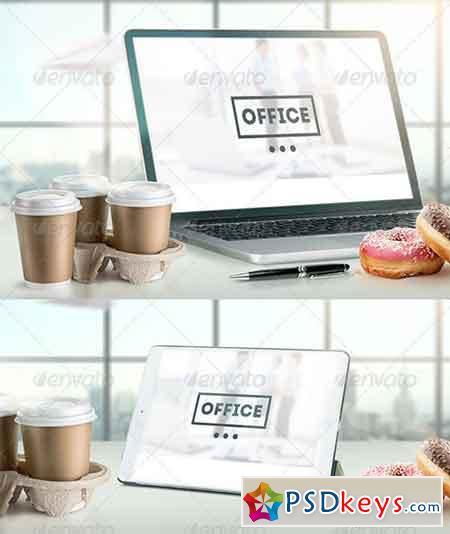Mock-Up Laptop and tablet (PSD). Office style 7255500