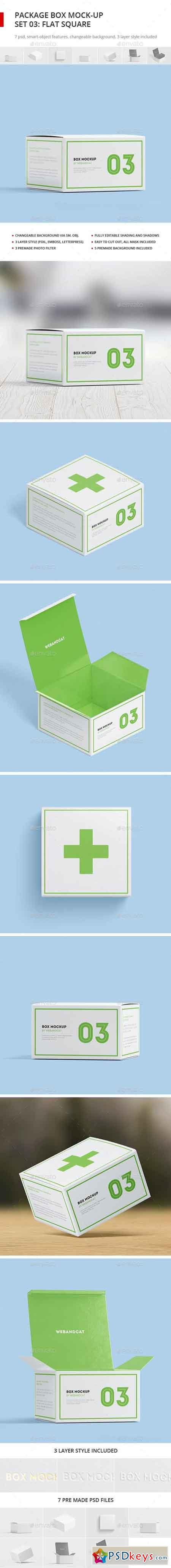 Package Box Mock-up, Set 3 Flat Square Box 17746435