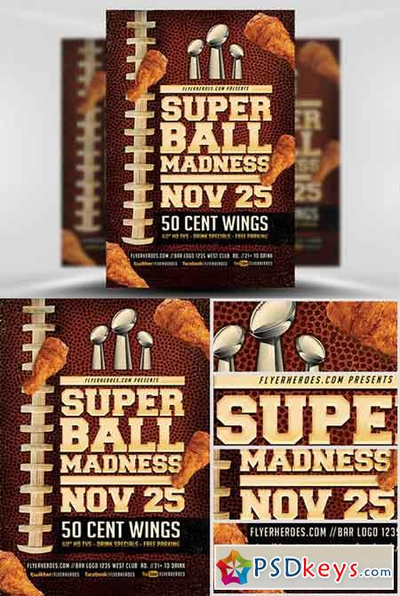Super Ball Madness Flyer Template v2