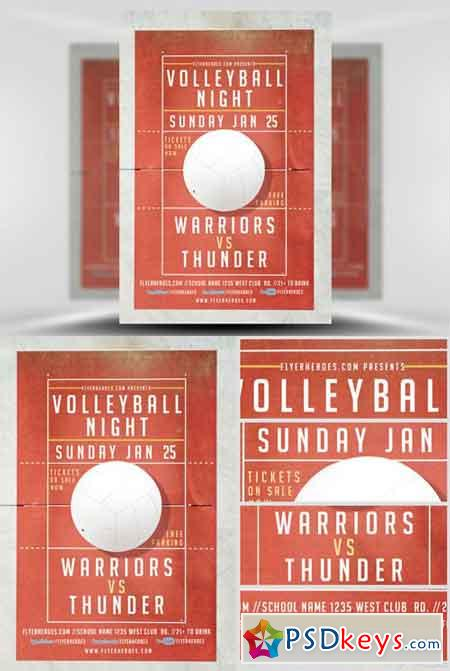 Volleyball Night Flyer Template