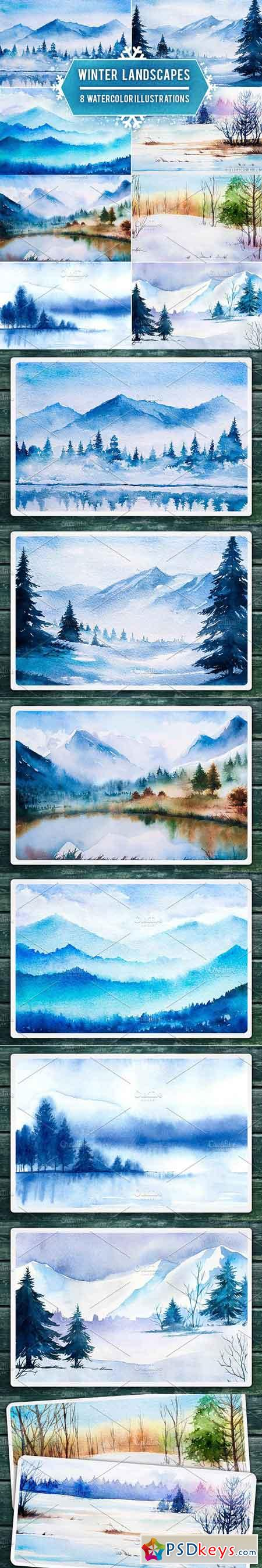 Winter Landscapes set#2. Watercolor 1153117