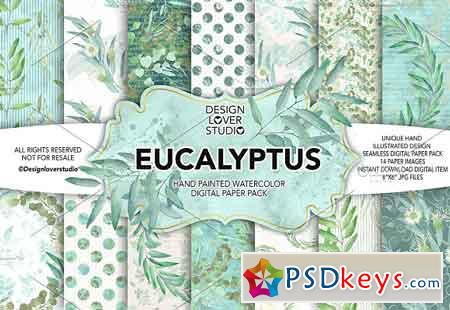 Watercolor Eucalyptus leaves DP pack 1232698