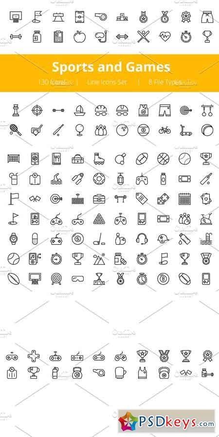 125+ Sports and Games Line Icons 1141674