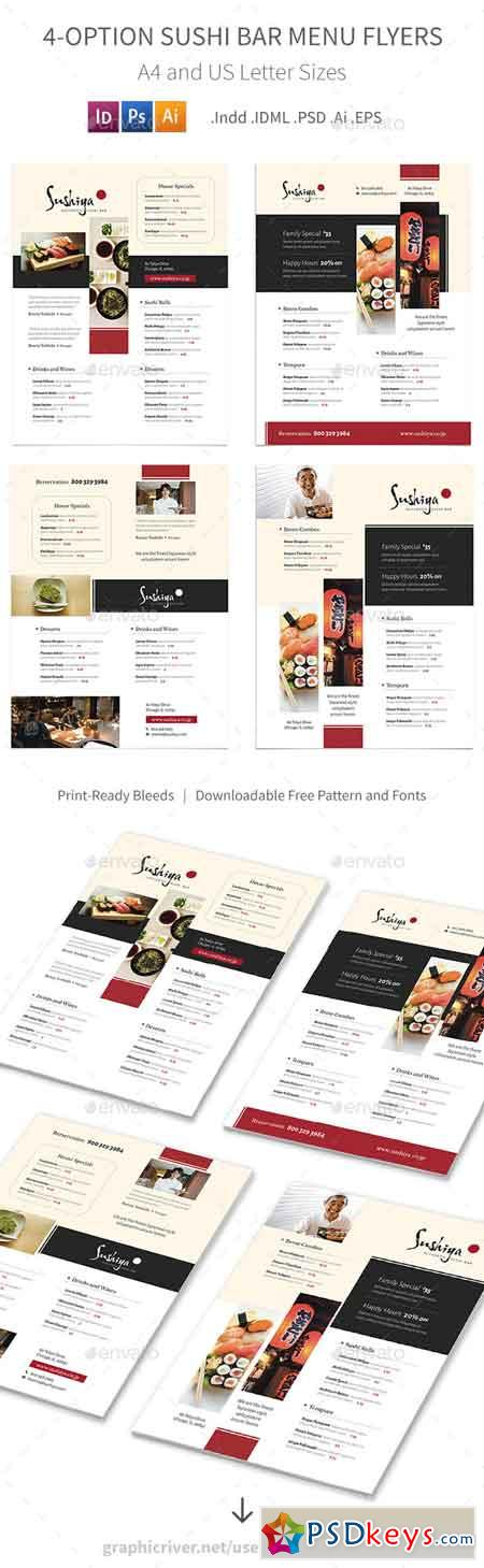 Sushi Bar Menu Flyers – 4 Options 19273342