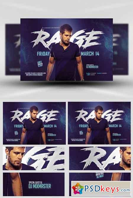 Blue Rage Party Flyer Template » Free Download Photoshop Vector ...