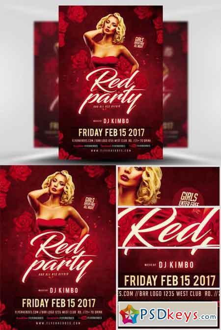 Valentines Red Party Flyer Template  Free Download Photoshop Vector