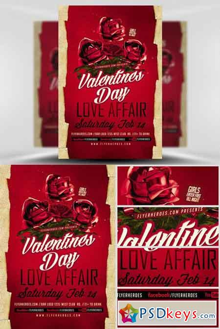 Valentines Day Love Affair Flyer Template