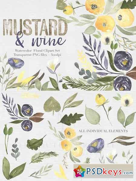 Mustard & wine Floral Clipart Set 476834
