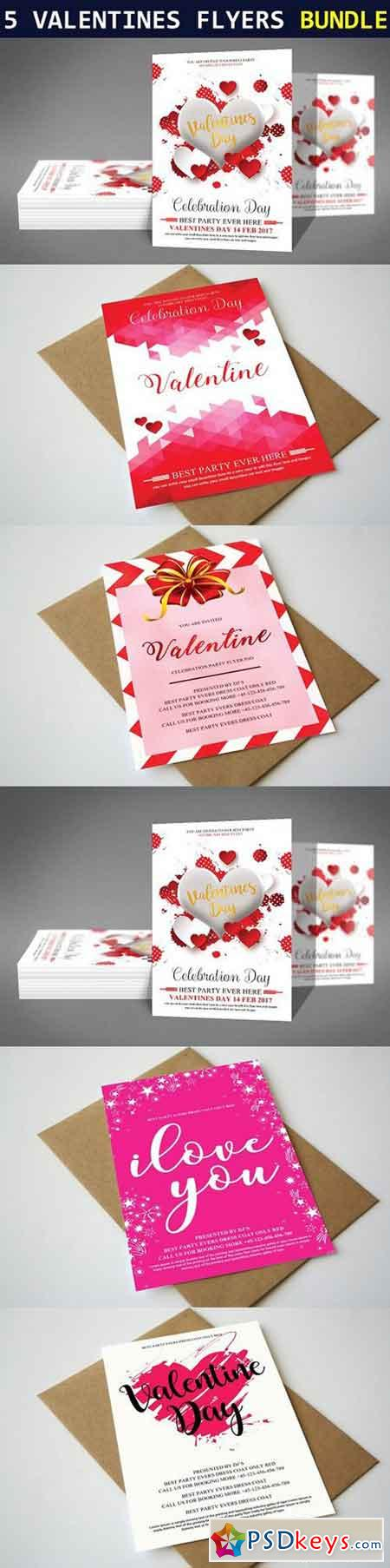 5 Valentines Day Flyers Bundle 1221642