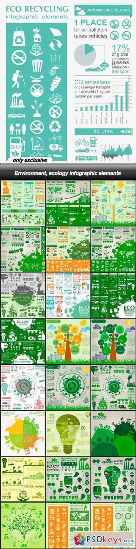Environment, ecology infographic elements - 25 EPS